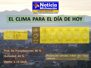Clima para Zacapu y la Región, Precipitación estimada: 4.0625 mm. Cielos cubiertos