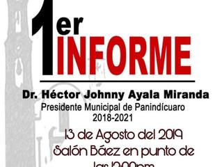 El Presidente Héctor Johnny Ayala Miranda hace la invitación a su Primer Informe de Gobierno