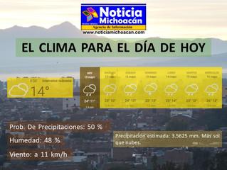 Clima para Zacapu y la Región, Precipitación estimada: 3.5625 mm. Más sol que nubes