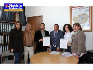 Firman convenio de colaboración el Ayuntamiento de Pátzcuaro y la PGJE