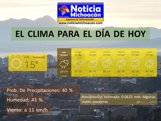 Clima para Zacapu y la Región, Precipitación estimada: 0.0625 mm. Algunas nubes pasajeras
