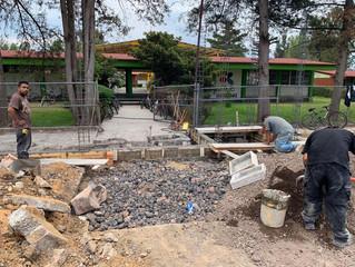 El Alcalde Arturo León Balbanera continúa con construcción de fachada en Secundaria Técnica No.59