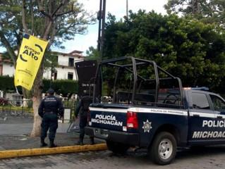 Ante Bandera Amarrilla, efectúa SSP tareas de prevención contra COVID-19 en Uruapan