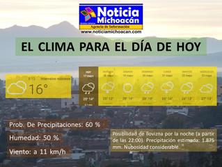 Clima para Zacapu y la Región, Posibilidad de llovizna por la noche (a partir de las 22:00). Precipi