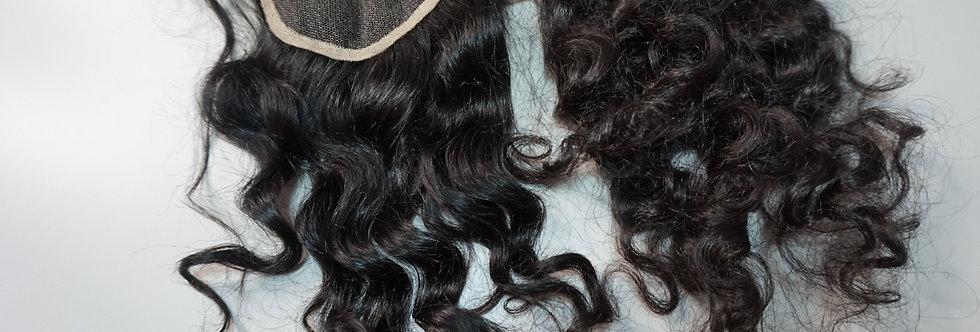 Organic wavy curly lace closure