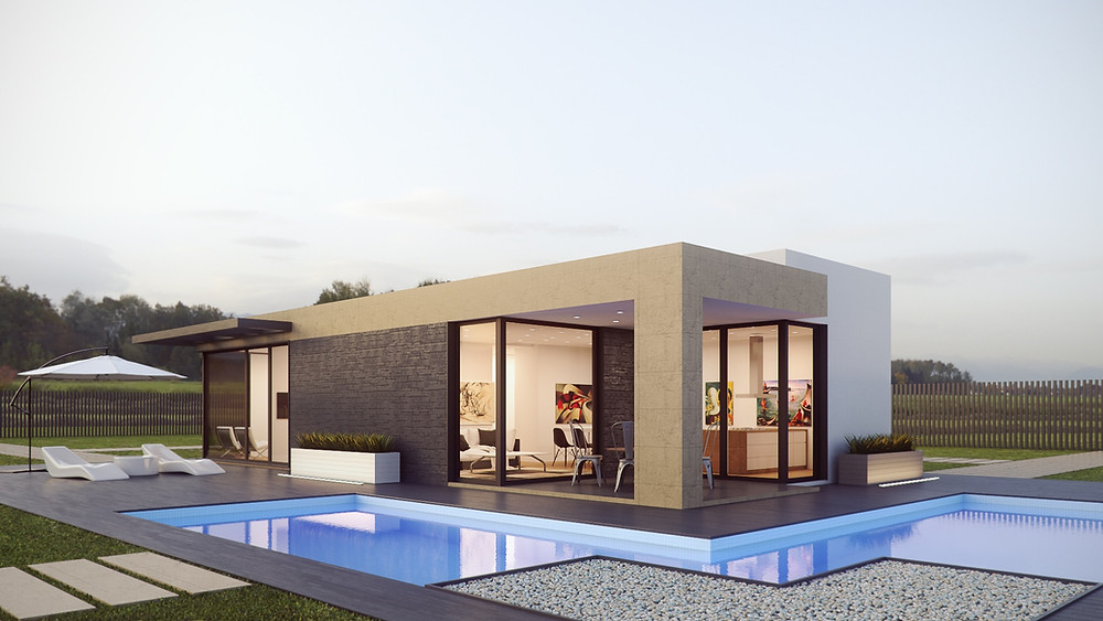 Designer home with pool