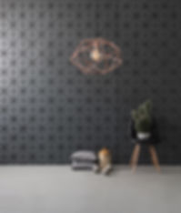 black textured wall and modern lamp blac