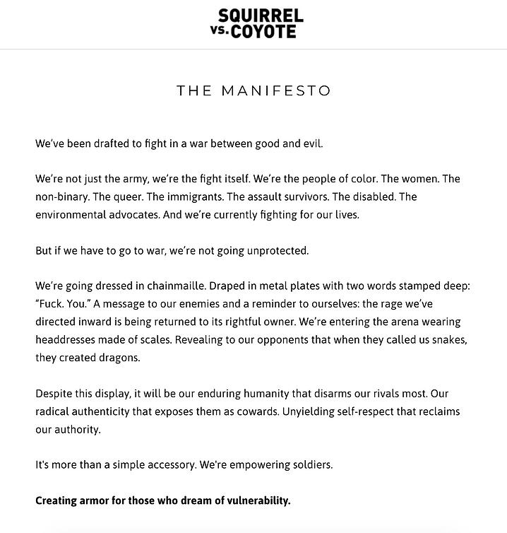 Squirrel vs. Coyote Manifesto