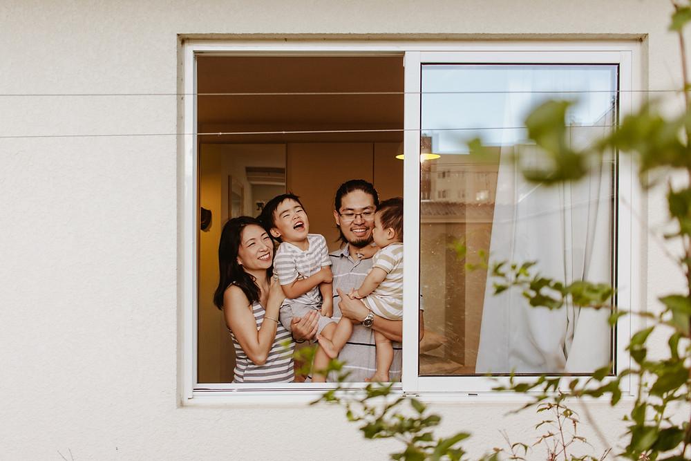 fotografia de família em casa