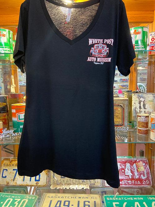 WOMENS V-Neck Pinstripe Hotrod T-shirt