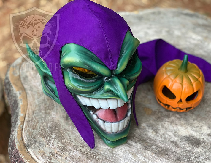 Green Goblin Mask+ Purple Cap + Pumpkin Bomb LED HQ Resin by Godofprops