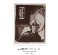 This drawing is one of a series of dream-like vampire fantasies I indulged in during my teenage years. This particulas one features a self portrait of me as a vampire.