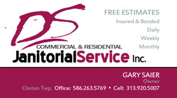DS Janitorial Services business card