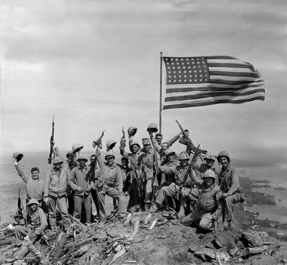 Battle for Iwo Jima: Old Glory Raised Atop Mount Suribachi