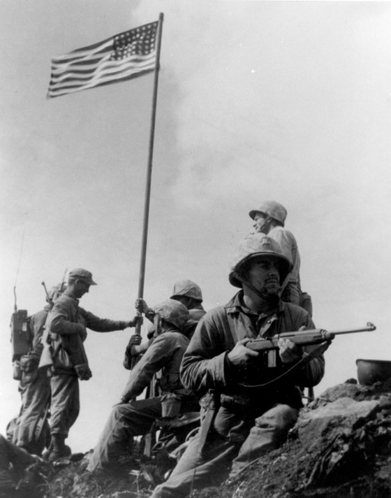 Battle for Iwo Jima: Old Glory Raised Atop Mount Suribachi