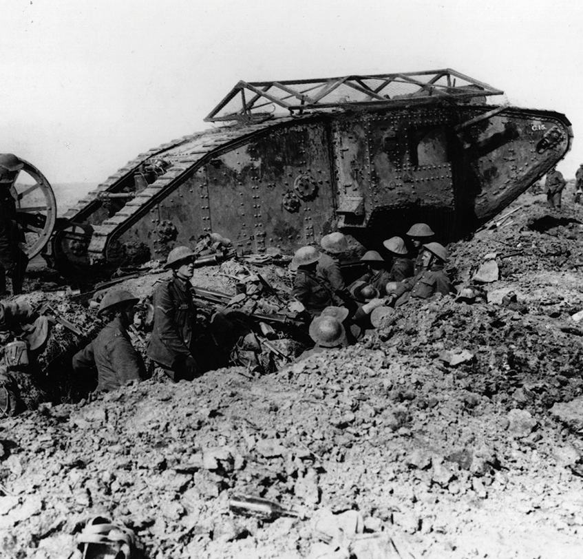 A British tank crossing the trenches in the Flanders region of Belgium.