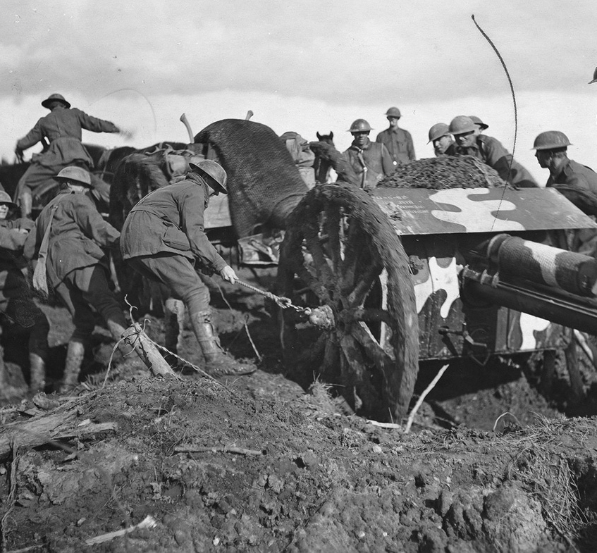 An 18-pounder being hauled through the mud at Broodseinde Ridge to support advancing Australian troops.