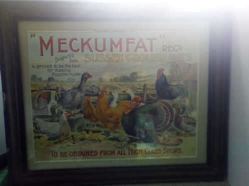 original Meckumfat window advertising card