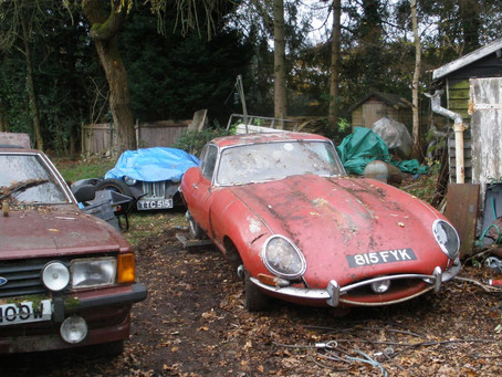 Rare Jaguar E-Type found under a hedge to sell for up to £100,000 at auction