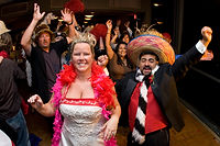 Pismo Beach Bride and Groom Having wedding reception FUN At DJ 'RocNRev' Michael Taylor, San Luis Obispo wedding officiant, DJ and emcee