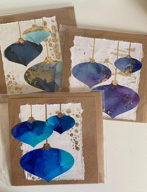 3 Blue Handmade Bauble Christmas Cards
