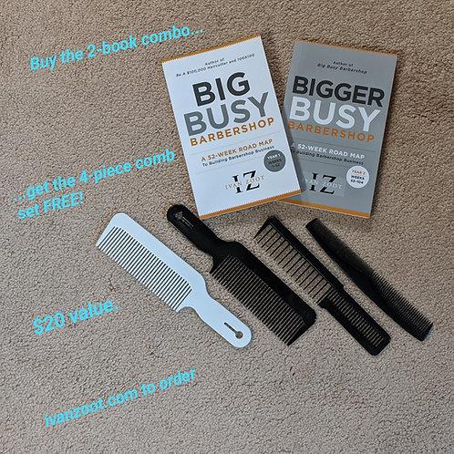 Big/Bigger Busy Barbershop Book Pair w FREE Comb Set