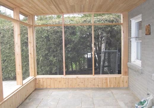 Screen porch Interior stone floor