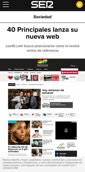 ARTICLE ABOUT THE RE DESIGN OF LOS40.COM
