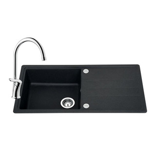 Black composite sink and tap