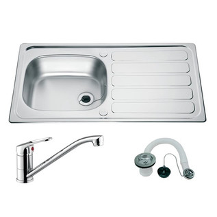 Stainless sink and tap