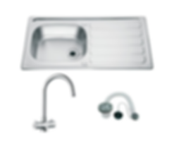 Drayton Single Bowl Sink and Chrome Rhone Tap