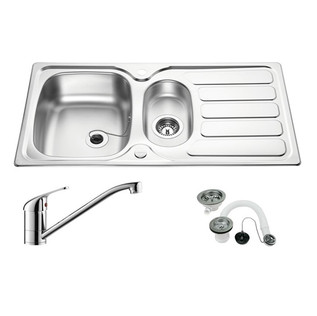 1.5 bowl stainless sink and tap