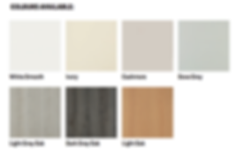 white smooth, ivory, cashmere, dove grey, light grey oak, dark grey oak, light oak