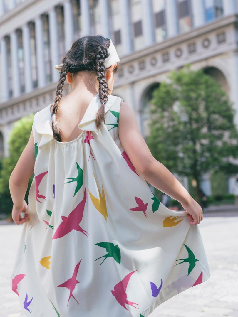 Back gather dress