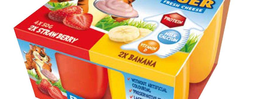 DA018. Milk Tiger Fresh Cheese Strawberry & Banana 4 x 50g
