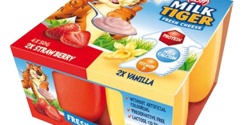 DA017. Milk Tiger Fresh Cheese Strawberry & Vanilla 4 x 50g