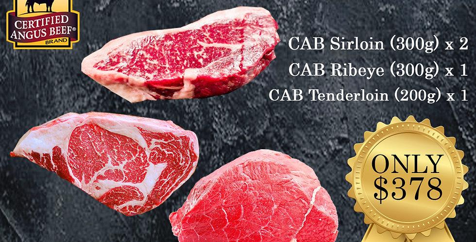 ABSTEAKSET. CAB Sirloin Steak + Ribeye Steak + Tenderloin Steak