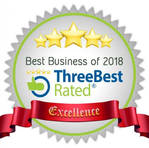 Best Business of 2018 ThreeBest Rated excellence badge Patricia Justice Designs