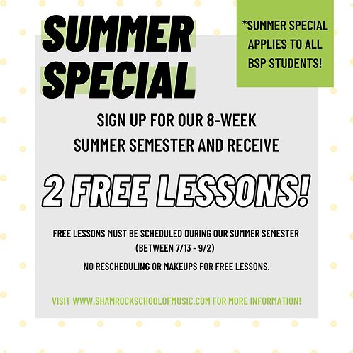 Summer Special! 8 Lessons + 2 FREE!