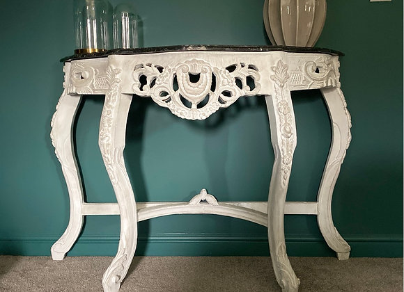 Abbee french console table with marble top