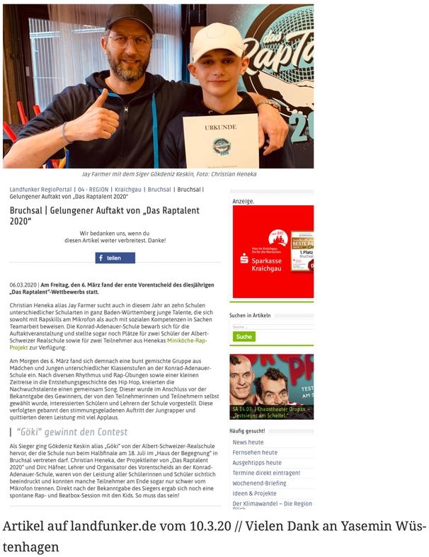 Artikel auf landfunker.de vom 10.3.20 // Vielen Dank an Yasemin Wüstenhagen