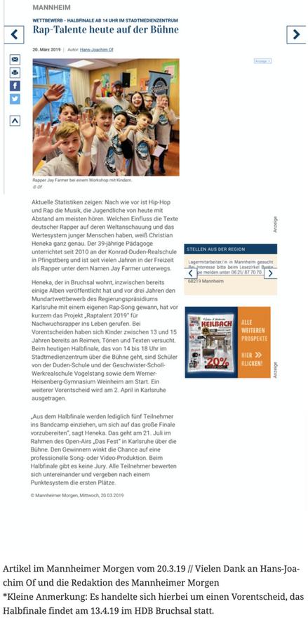 Artikel im Mannheimer Morgen vom 20.3.19 // Vielen Dank an Hans-Joachim Of und die Redaktion des Mannheimer Morgen *Kleine Anmerkung: Es handelte sich hierbei um einen Vorentscheid, das Halbfinale findet am 13.4.19 im HDB Bruchsal statt.