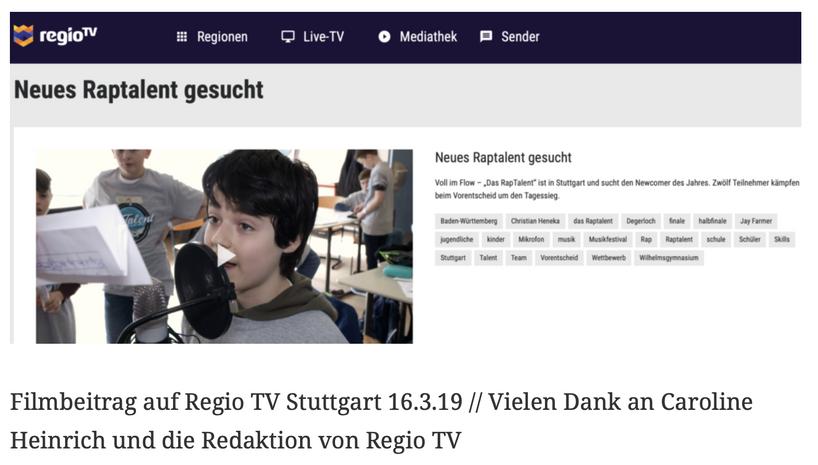 Filmbeitrag auf Regio TV Stuttgart 16.3.19 // Vielen Dank an Caroline Heinrich und die Redaktion von Regio TV
