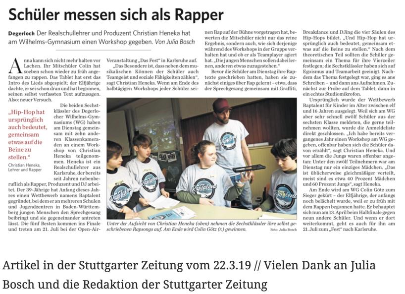Artikel in der Stuttgarter Zeitung vom 22.3.19 // Vielen Dank an Julia Bosch und die Redaktion der Stuttgarter Zeitung