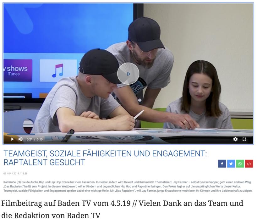 Filmbeitrag auf Baden TV vom 4.5.19 // Vielen Dank an das Team und die Redaktion von Baden TV