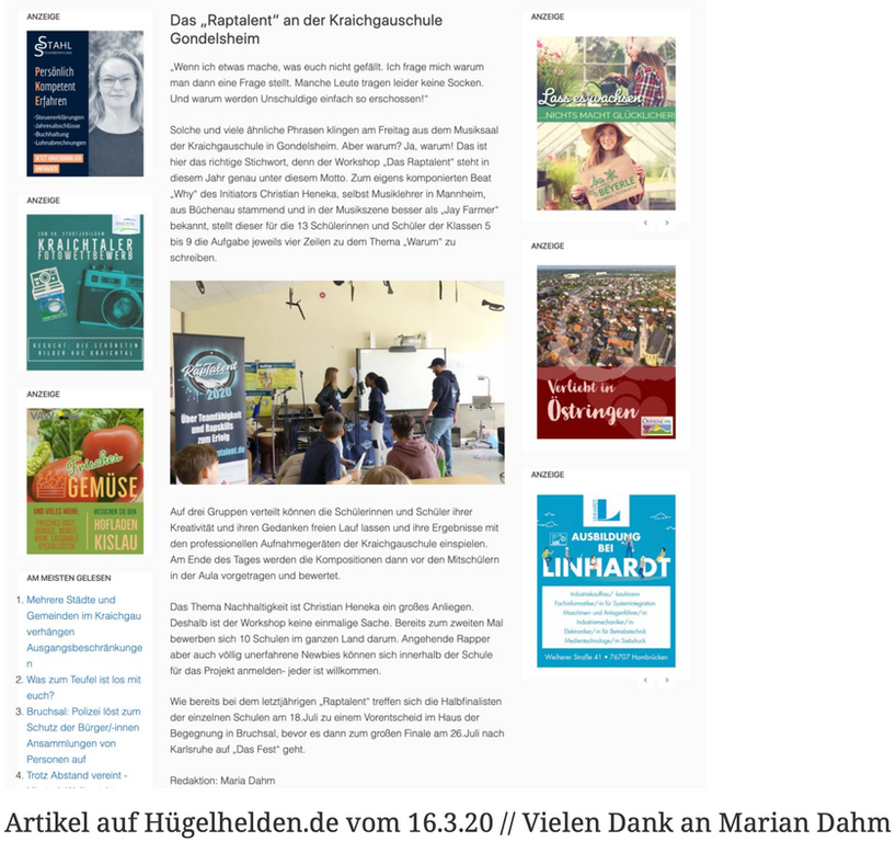 Artikel auf Hügelhelden.de vom 16.3.20 // Vielen Dank an Marian Dahm