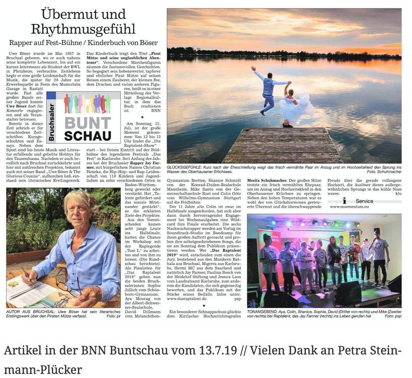 Artikel in der BNN Buntschau vom 13.7.19 // Vielen Dank an Petra Steinmann-Plücker