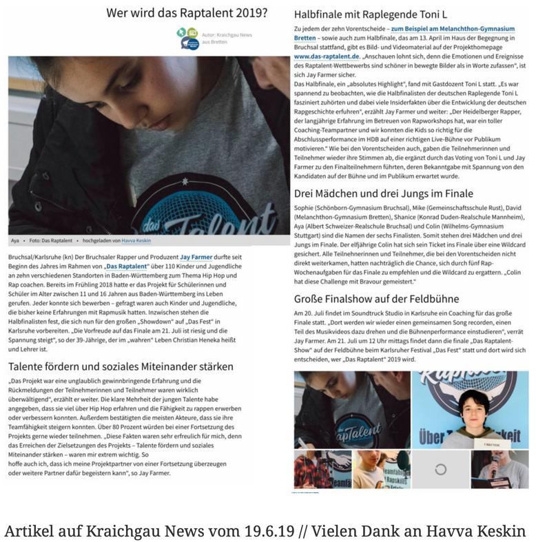 Artikel auf Kraichgau News vom 19.6.19 // Vielen Dank an Havva Keskin