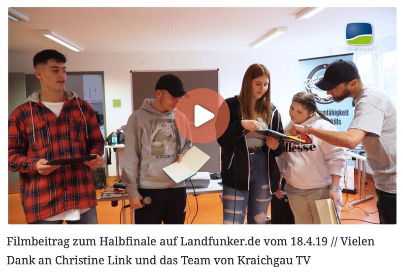 Filmbeitrag zum Halbfinale auf Landfunker.de vom 18.4.19 // Vielen Dank an Christine Link und das Team von Kraichgau TV