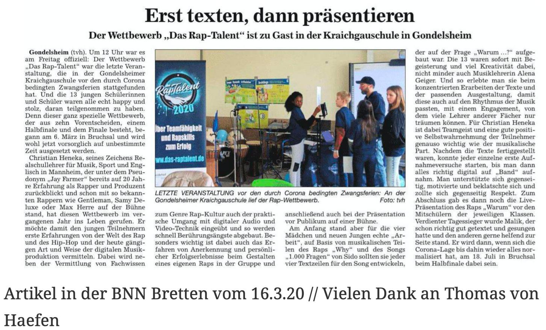 Artikel in der BNN Bretten vom 16.3.20 // Vielen Dank an Thomas von Haefen